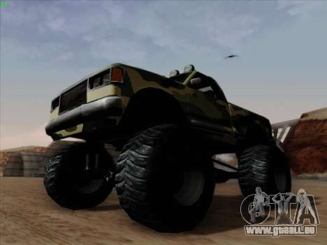 Camouflage pour Monster pour GTA San Andreas vue intérieure