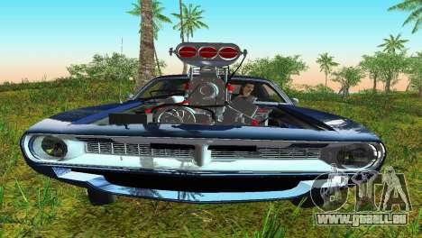 Plymouth Barracuda Supercharger pour GTA Vice City sur la vue arrière gauche
