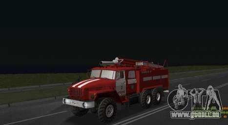 Ural 4320 pompier pour GTA San Andreas sur la vue arrière gauche