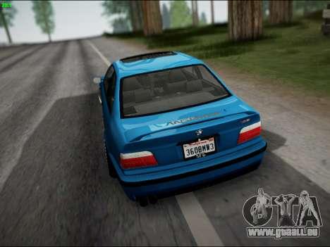 BMW M3 E36 Stance pour GTA San Andreas vue de dessous