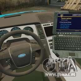 Ford Taurus 2010 Police Interceptor Detroit pour GTA 4 est une vue de l'intérieur