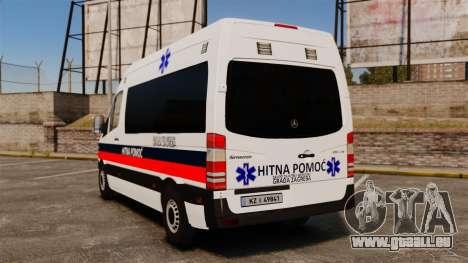 Mercedes-Benz Sprinter Zagreb Ambulance [ELS] pour GTA 4 Vue arrière de la gauche