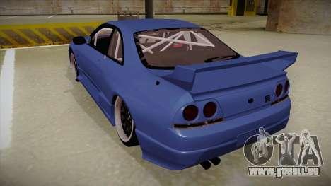 Nissan Skyline R33 JDM pour GTA San Andreas vue arrière