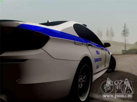 BMW M5 F10 INNEN OFFICE für GTA San Andreas zurück linke Ansicht