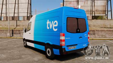 Mercedes-Benz Sprinter Spanish Television Van für GTA 4 hinten links Ansicht