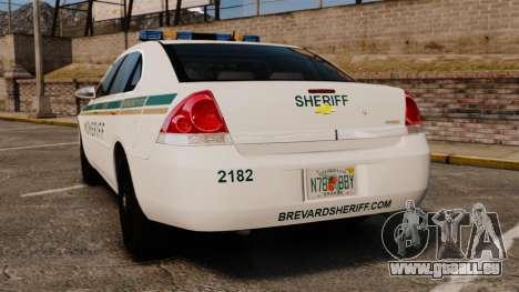 Chevrolet Impala BCSD 2010 [ELS] pour GTA 4 Vue arrière de la gauche