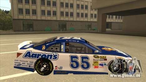 Toyota Camry NASCAR No. 55 Aarons DM white-blue für GTA San Andreas zurück linke Ansicht