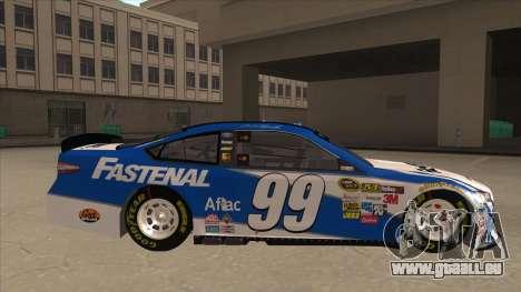 Ford Fusion NASCAR No. 99 Fastenal Aflac Subway für GTA San Andreas zurück linke Ansicht