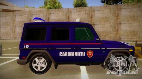 Mercedes Benz G8 Carabinieri pour GTA San Andreas sur la vue arrière gauche