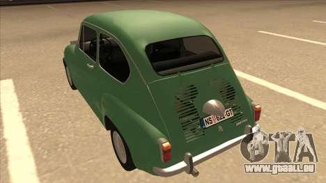 Zastava 750 Classic pour GTA San Andreas vue arrière