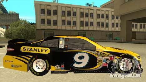 Ford Fusion NASCAR No. 9 Stanley DeWalt für GTA San Andreas zurück linke Ansicht