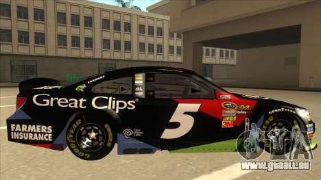 Chevrolet SS NASCAR No. 5 Great Clips pour GTA San Andreas sur la vue arrière gauche