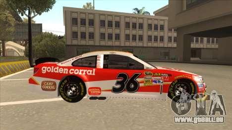 Chevrolet SS NASCAR No. 36 Golden Corral für GTA San Andreas zurück linke Ansicht