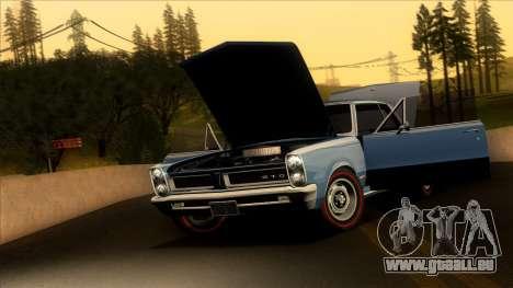 Pontiac Tempest LeMans GTO Hardtop Coupe 1965 pour GTA San Andreas sur la vue arrière gauche