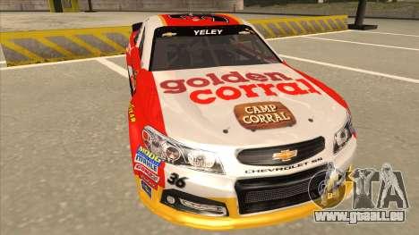 Chevrolet SS NASCAR No. 36 Golden Corral pour GTA San Andreas laissé vue