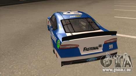 Ford Fusion NASCAR No. 99 Fastenal Aflac Subway für GTA San Andreas Rückansicht