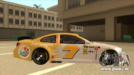 Chevrolet SS NASCAR No. 7 Florida Lottery für GTA San Andreas zurück linke Ansicht