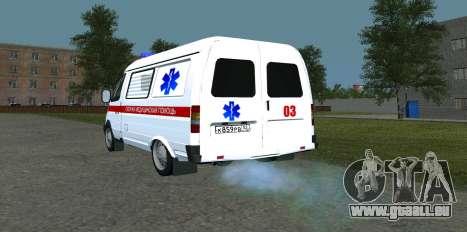 GAZ 22172 ambulance pour GTA San Andreas sur la vue arrière gauche