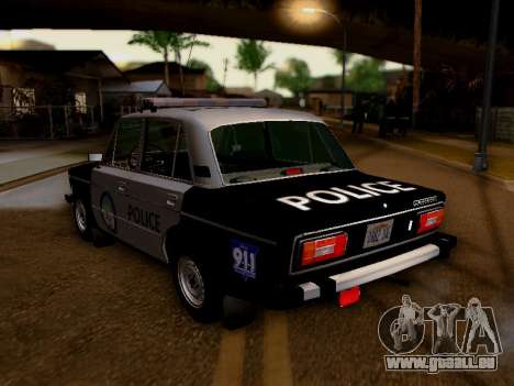 VAZ 2106 Los Santos Police pour GTA San Andreas sur la vue arrière gauche