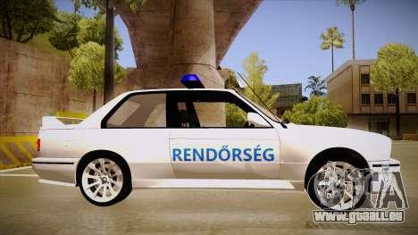 BMW M3 E30 Rendőrség pour GTA San Andreas sur la vue arrière gauche