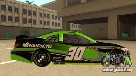 Toyota Camry NASCAR No. 30 Widow Wax pour GTA San Andreas sur la vue arrière gauche