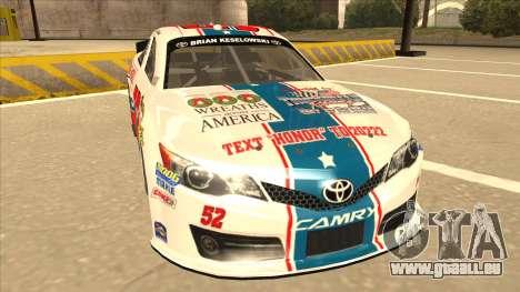 Toyota Camry NASCAR No. 52 TruckerFan für GTA San Andreas linke Ansicht