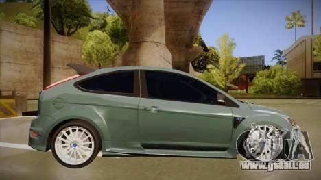 Ford Focus RS 2010 pour GTA San Andreas sur la vue arrière gauche