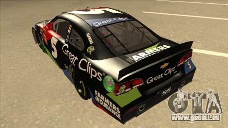 Chevrolet SS NASCAR No. 5 Great Clips pour GTA San Andreas vue arrière