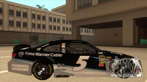 Chevrolet SS NASCAR No. 5 Time Warner Cable für GTA San Andreas zurück linke Ansicht