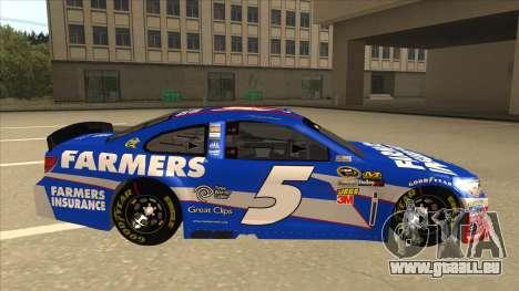Chevrolet SS NASCAR No. 5 Farmers Insurance pour GTA San Andreas sur la vue arrière gauche