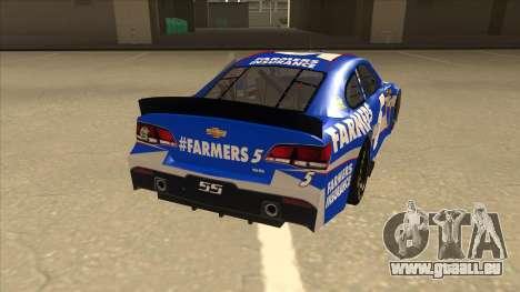 Chevrolet SS NASCAR No. 5 Farmers Insurance pour GTA San Andreas vue de droite