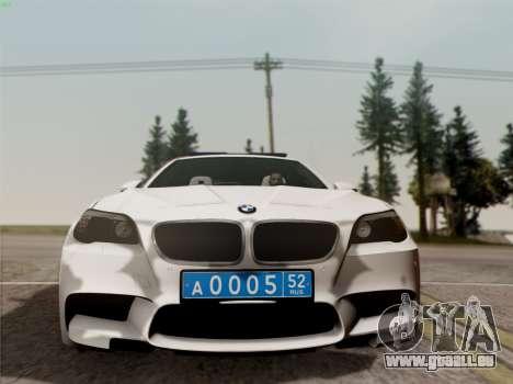 BMW M5 F10 INNEN OFFICE für GTA San Andreas Rückansicht
