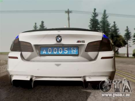 BMW M5 F10 INNEN OFFICE für GTA San Andreas rechten Ansicht