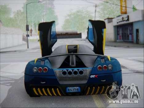 Koenigsegg CCX Elite für GTA San Andreas zurück linke Ansicht