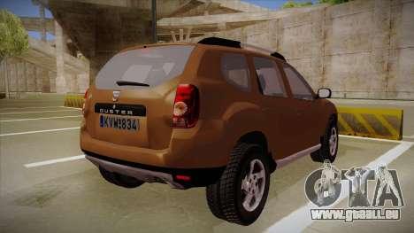 Dacia Duster Elite pour GTA San Andreas vue de droite