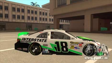 Toyota Camry NASCAR No. 18 Interstate Batteries für GTA San Andreas zurück linke Ansicht