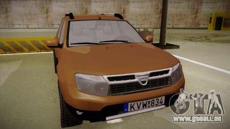 Dacia Duster Elite pour GTA San Andreas laissé vue