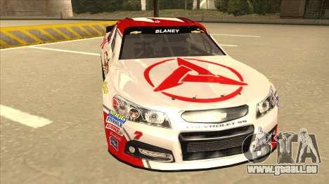 Chevrolet SS NASCAR No. 7 Sany pour GTA San Andreas laissé vue