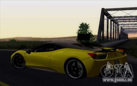 Ferrari 458 Italia Novitec Rosso Carbon pour GTA San Andreas laissé vue