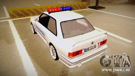 BMW M3 E30 Rendőrség pour GTA San Andreas vue arrière