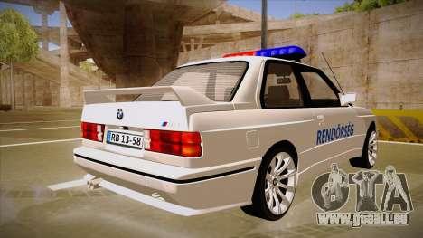 BMW M3 E30 Rendőrség pour GTA San Andreas vue de droite