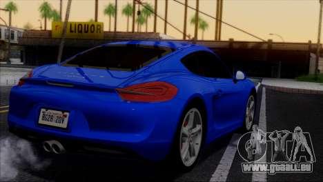 Porsche Cayman S 2014 für GTA San Andreas Motor