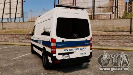 Mercedes-Benz Sprinter 2500 Prisoner Transport pour GTA 4 Vue arrière de la gauche