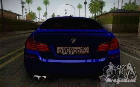 BMW M5 F10 v2 pour GTA San Andreas vue intérieure