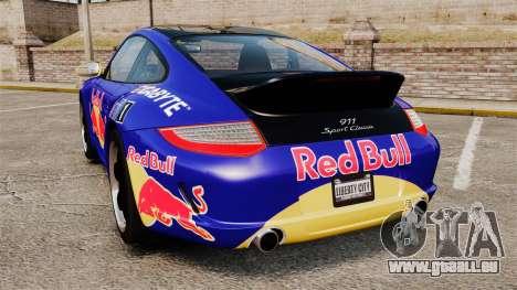 Porsche 911 Sport Classic 2010 Red Bull pour GTA 4 Vue arrière de la gauche