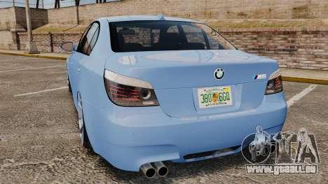 BMW M5 2009 pour GTA 4 Vue arrière de la gauche