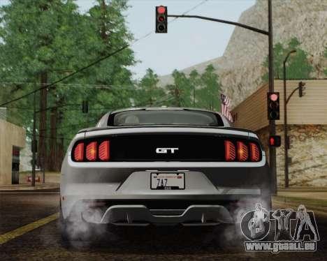 Ford Mustang GT 2015 für GTA San Andreas Unteransicht
