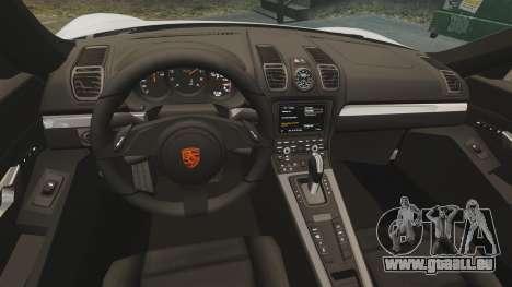 Porsche Cayman S 981C pour GTA 4 est une vue de l'intérieur