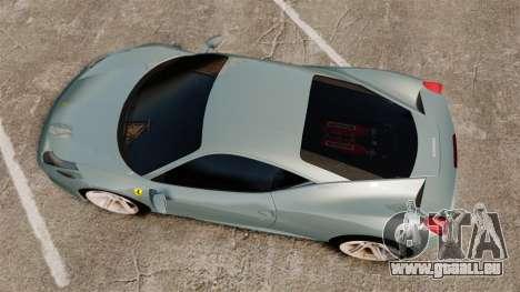 Ferrari 458 Italia 2009 für GTA 4 rechte Ansicht