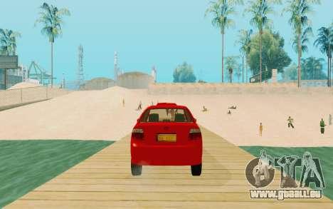 Toyota Vios Taxi Costa Rica pour GTA San Andreas sur la vue arrière gauche